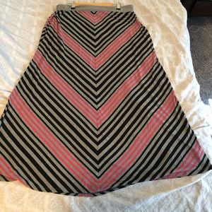 Adorable striped print pink and gray maxi